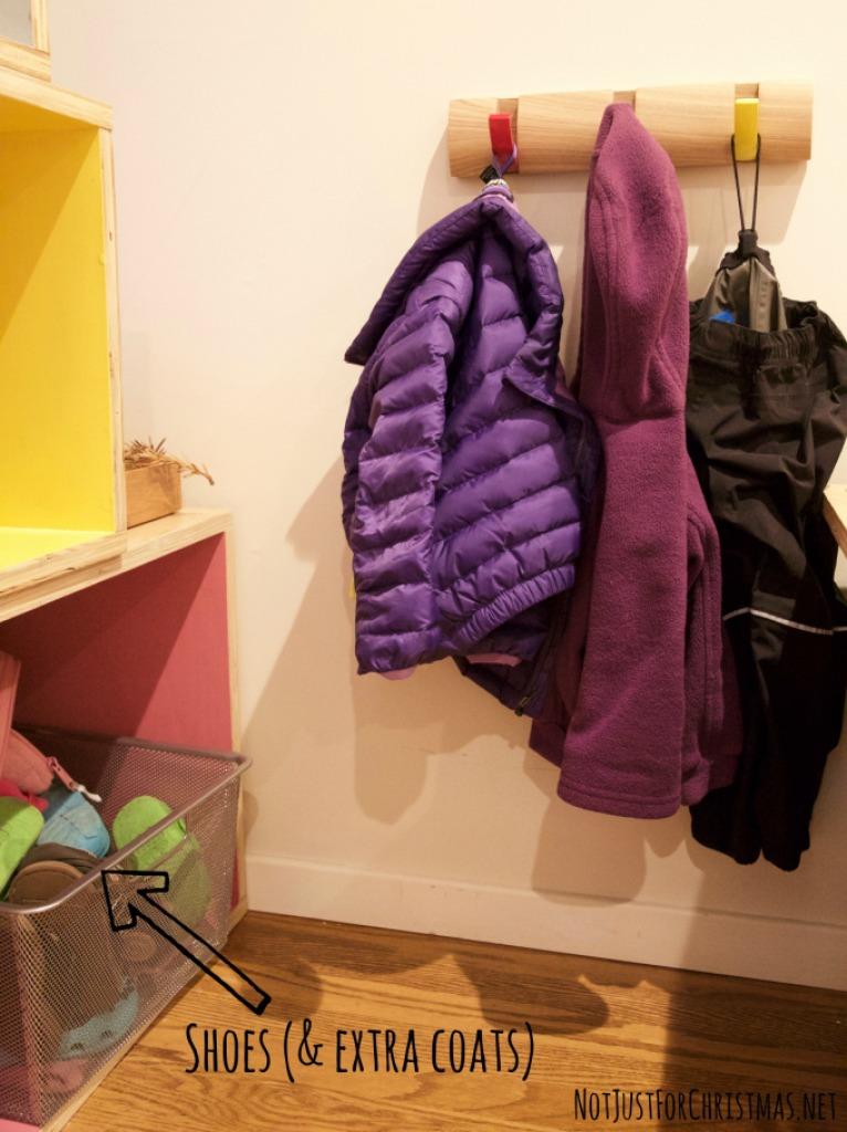 child coat hook shoe storage